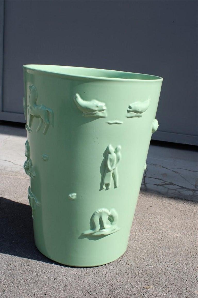 Ceramic Rare Green Great Vase Angelo Biancini 1930 Futuristic Made in Italy Laveno For Sale