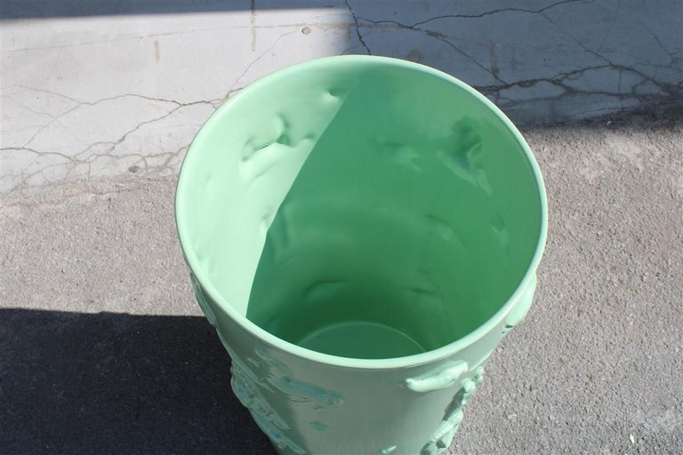 Rare Green Great Vase Angelo Biancini 1930 Futuristic Made in Italy Laveno For Sale 1