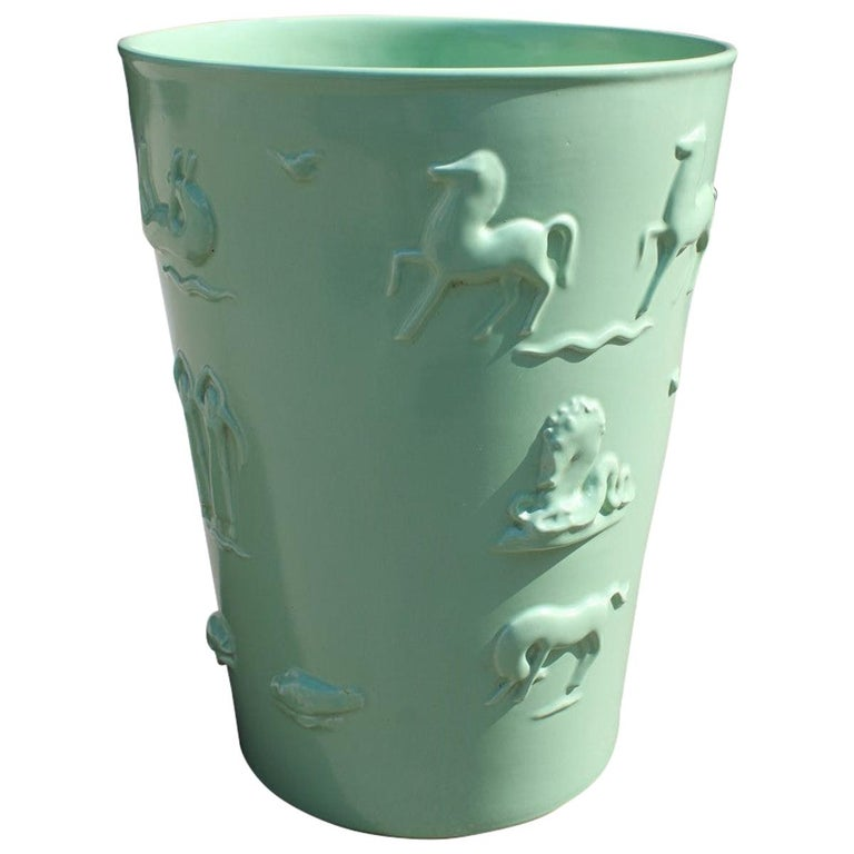 Rare Green Great Vase Angelo Biancini 1930 Futuristic Made in Italy Laveno For Sale