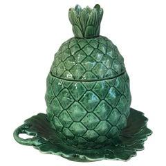 Rare Green Majolica Pineapple Tureen, Circa 1880