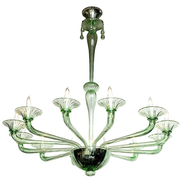 Rare Green Murano Glass Chandelier in the Manner of Venini, Italy, 2019 For Sale