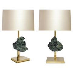 Rare Green Rock Crystal Cluster Lamps by Phoenix