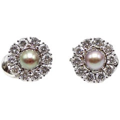 Rare Grey Natural Saltwater Pearl and Diamond White Gold Earrings