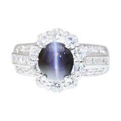 Rare GRS Certified Brazil Color Change Alexandrite 2.12 Cat's Eye & Diamond Ring