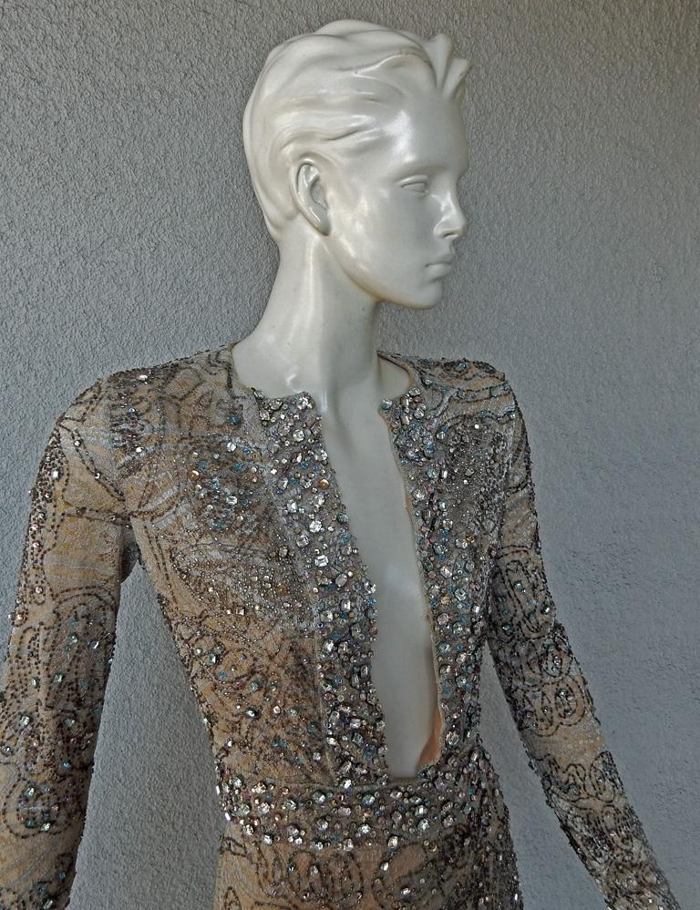 Women's Rare Gucci 2000 Tom Ford Runway Jeweled Lace Evening Cocktail Dress  New For Sale