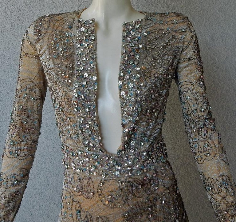 Rare Gucci 2000 Tom Ford Runway Jeweled Lace Evening Cocktail Dress  New For Sale 1