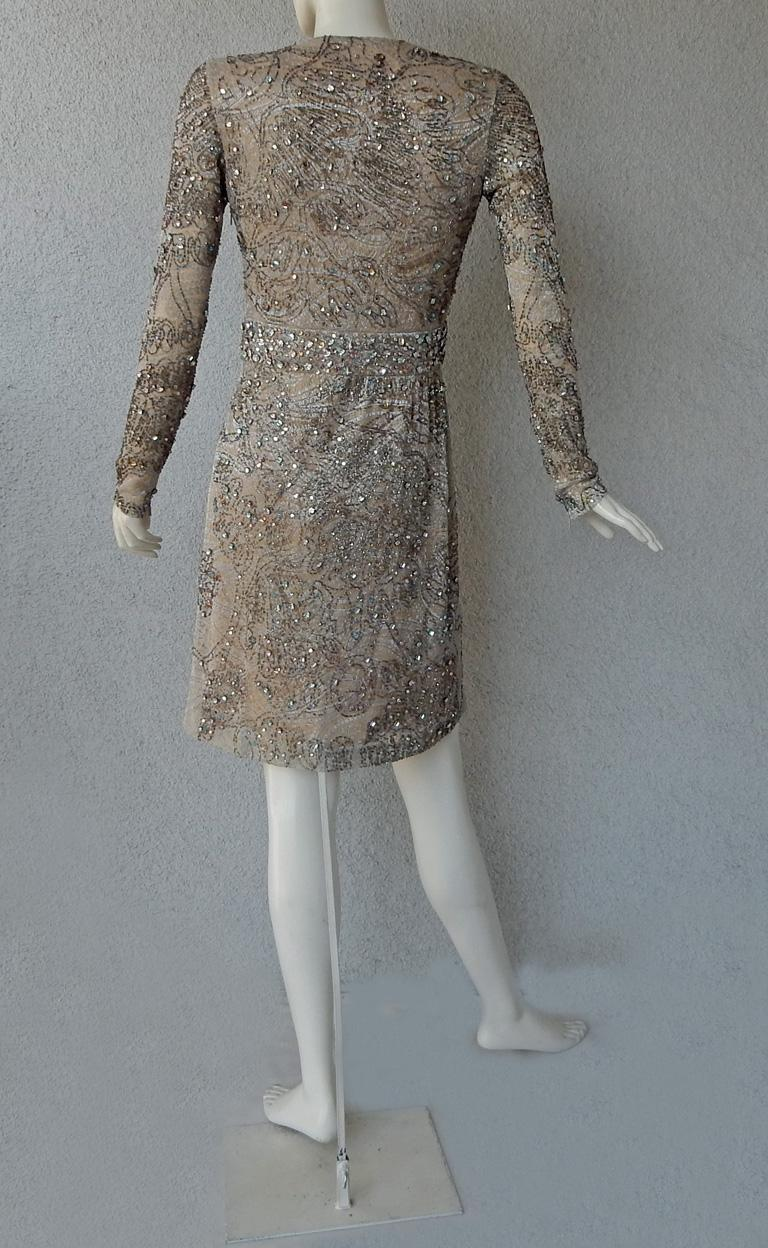 Rare Gucci 2000 Tom Ford Runway Jeweled Lace Evening Cocktail Dress  New For Sale 2