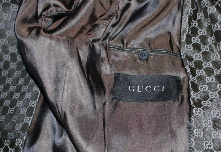 Rare Gucci by Tom Ford 1997 Black GG Monogram Logo Fur Coat For Sale 5