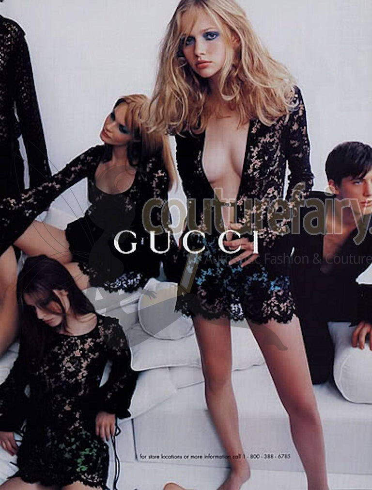 UNWORN Rare Gucci by Tom Ford SS 1996 Black Lace Mini Dress Gown For Sale 2