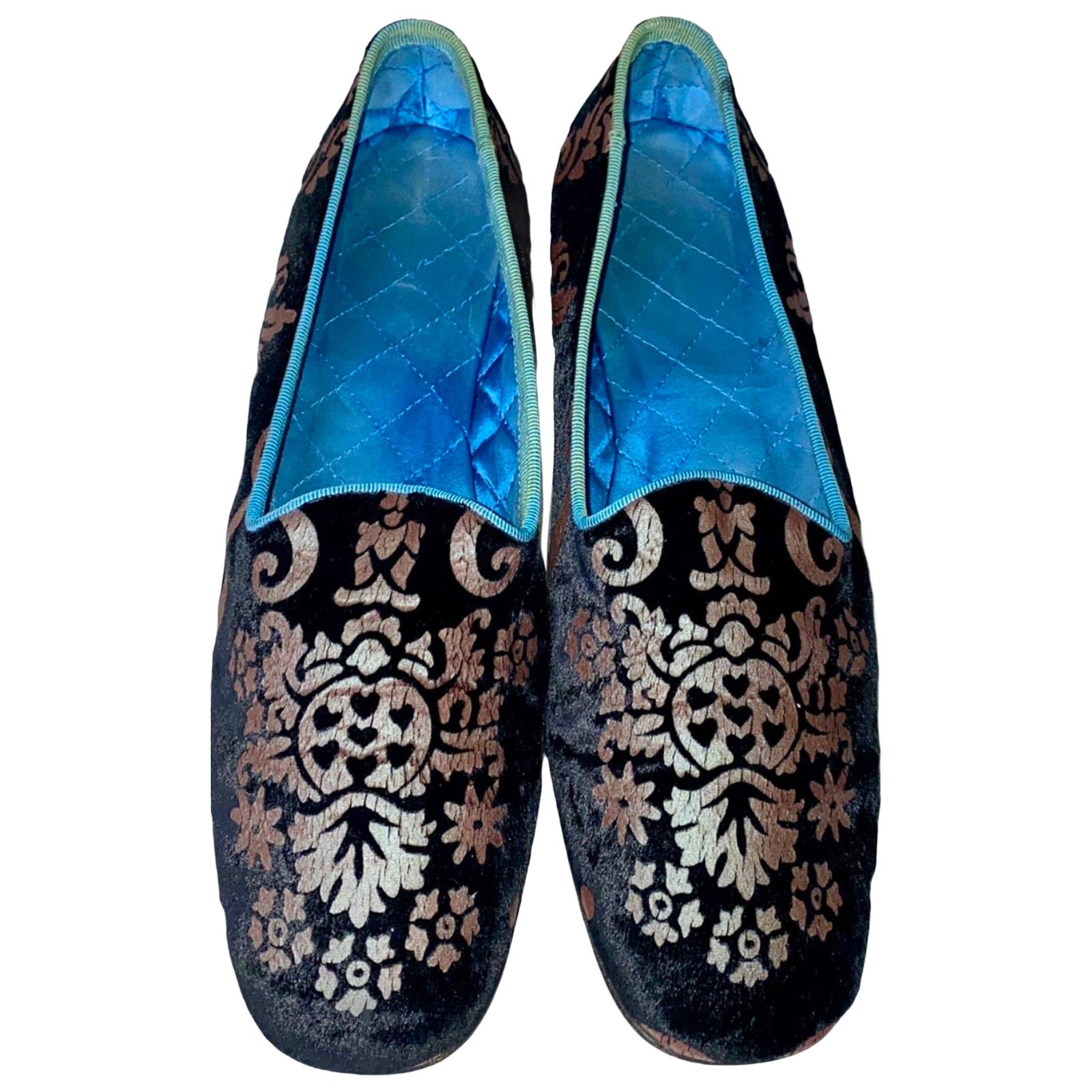 Rare Gucci by Tom Ford Velvet Brocade Print Flats Slippers Loafers