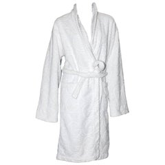 Rare Gucci by Tom Ford White GG Logo Terrycloth Terry Towel Bath Robe Coat