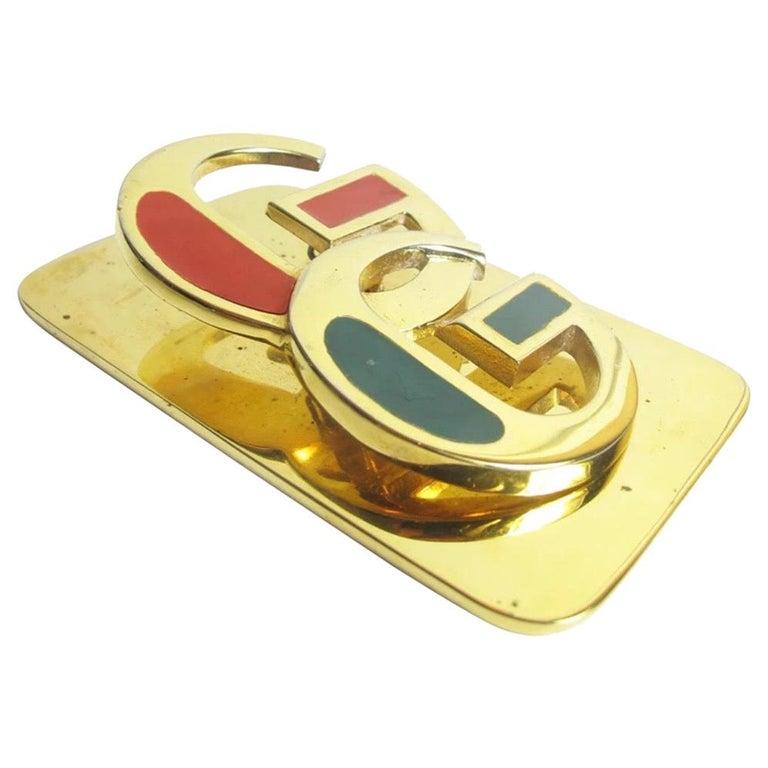 Rare Gucci Enamel and Brass Desk Clip, 1970s