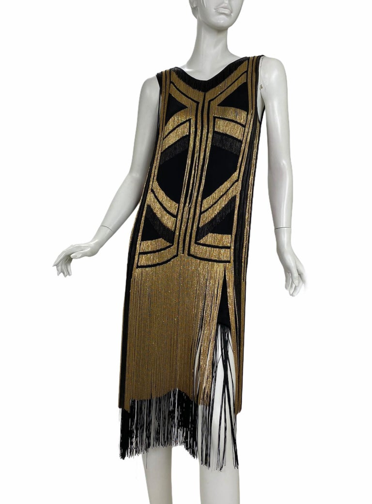 Rare Gucci Fringed chain-embellished silk dress as seen on Taylor Swift In Excellent Condition For Sale In Montgomery, TX