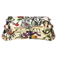Rare GUCCI Limited  Edition Flora Print Beaded Embroidered Horsebit Bag Clutch