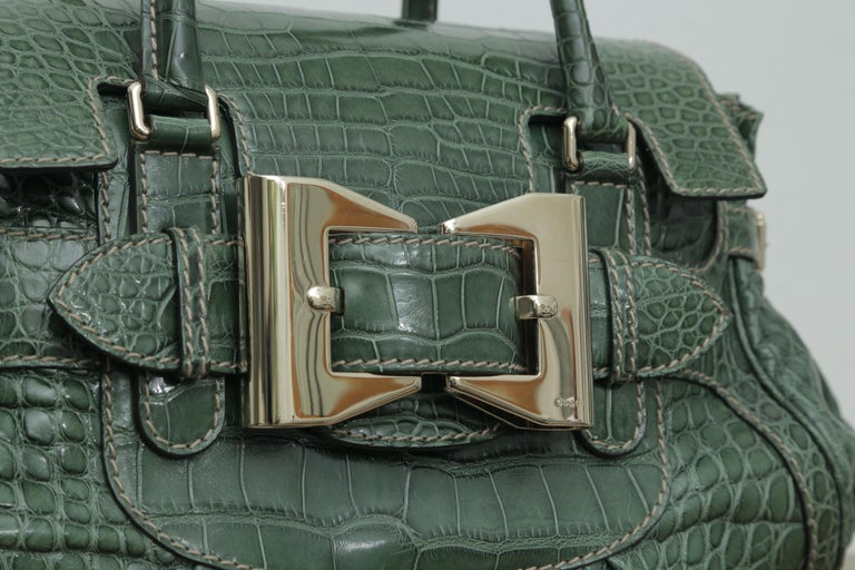 Gray  Rare Gucci Limited Edition Green Crocodile Skin Leather Weekend/Travel Bag For Sale