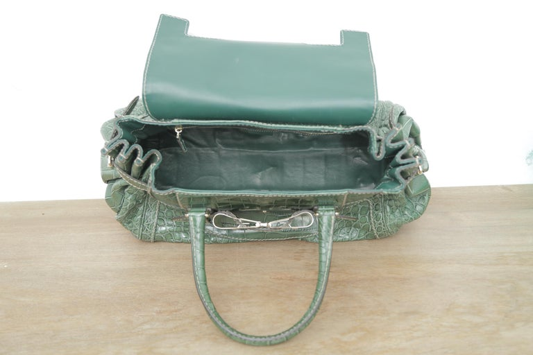 Rare Gucci Limited Edition Green Crocodile Skin Leather Weekend/Travel Bag For Sale 1