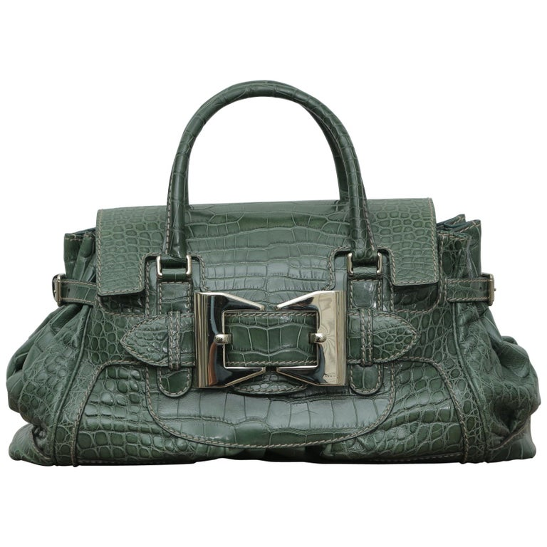 Rare Gucci Limited Edition Green Crocodile Skin Leather Weekend/Travel Bag For Sale
