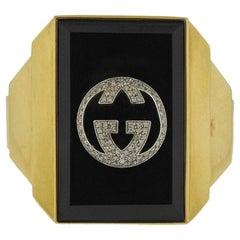 Rare Gucci Onyx Diamond Gold Cuff Bracelet
