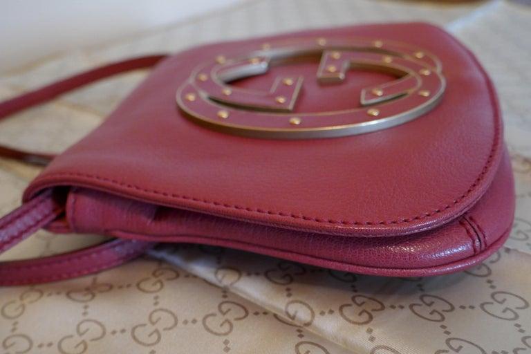 Rare Gucci Soho Pink Leather Messenger Shoulder Bag Purse   For Sale 9