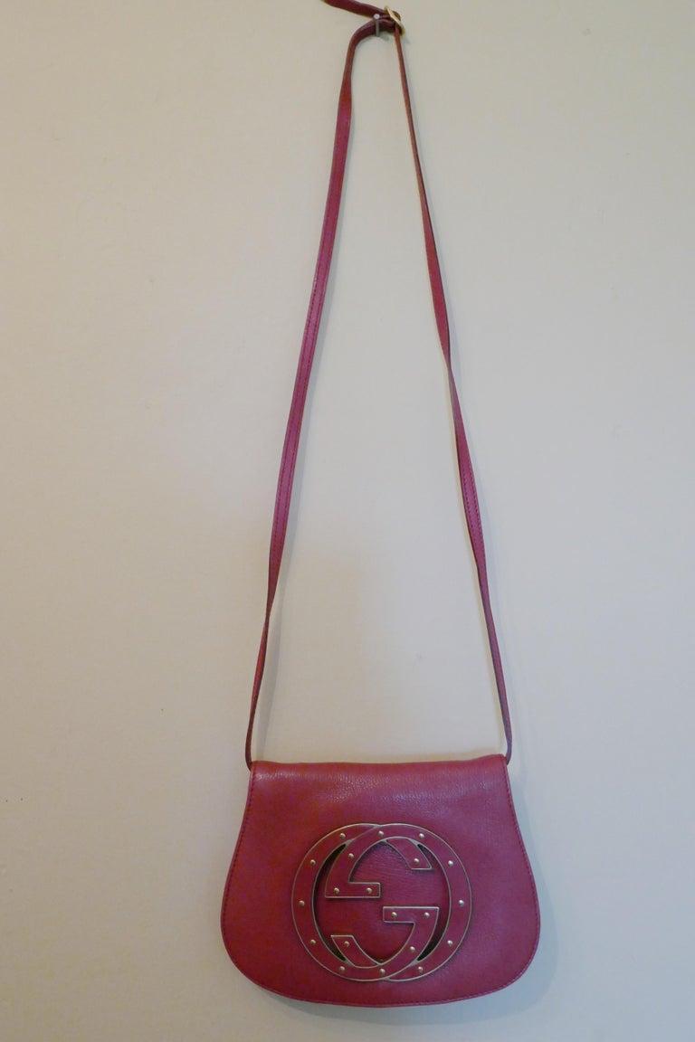 Rare Gucci Soho Pink Leather Messenger Shoulder Bag Purse   For Sale 12