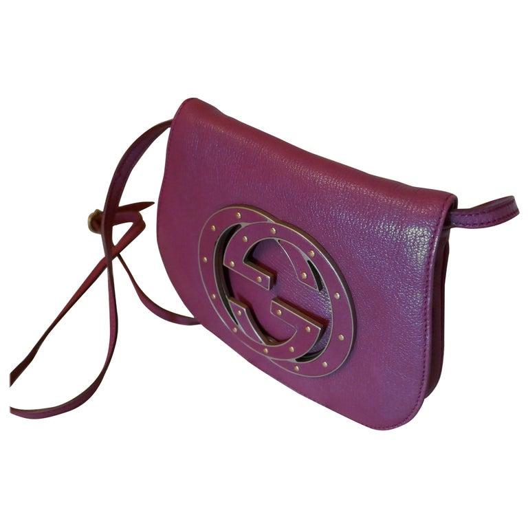 Rare Gucci Soho Pink Leather Messenger Shoulder Bag Purse   For Sale