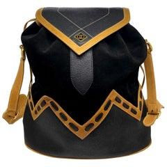 Rare Gucci Tri-Color Diamante Line Leather and Suede Drawstring Bucket Bag, 1980