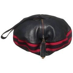 Rare Gucci Vintage Navy Leather Striped Canvas Shoulder Bag