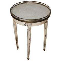 Rare Gustavian Louis XVI Style 1920s Era Marble Top Painted Taboret End Table