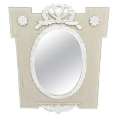 Rare Gustavian Swedish Paint Decorated Bowtie Carved Wall Mirror, circa 1920s