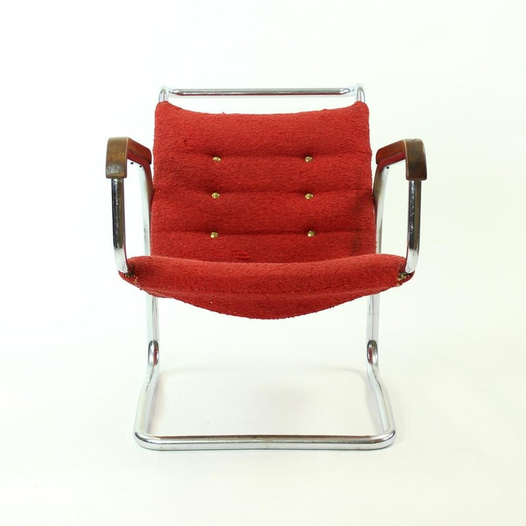 This armchair is truly one of a kind. Original design by Jindrich Halabala, the springing armchair made of bended chrome pipe. Produced before 1931 by UP Zavody in Brno, the only company Halabala ever designed for. There are very few of these chairs