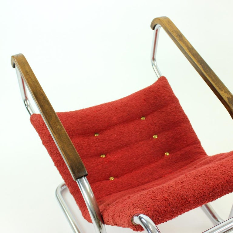 20th Century Rare H-91 Bended Chrome Pipe Armchair by Halabala, circa 1930 For Sale