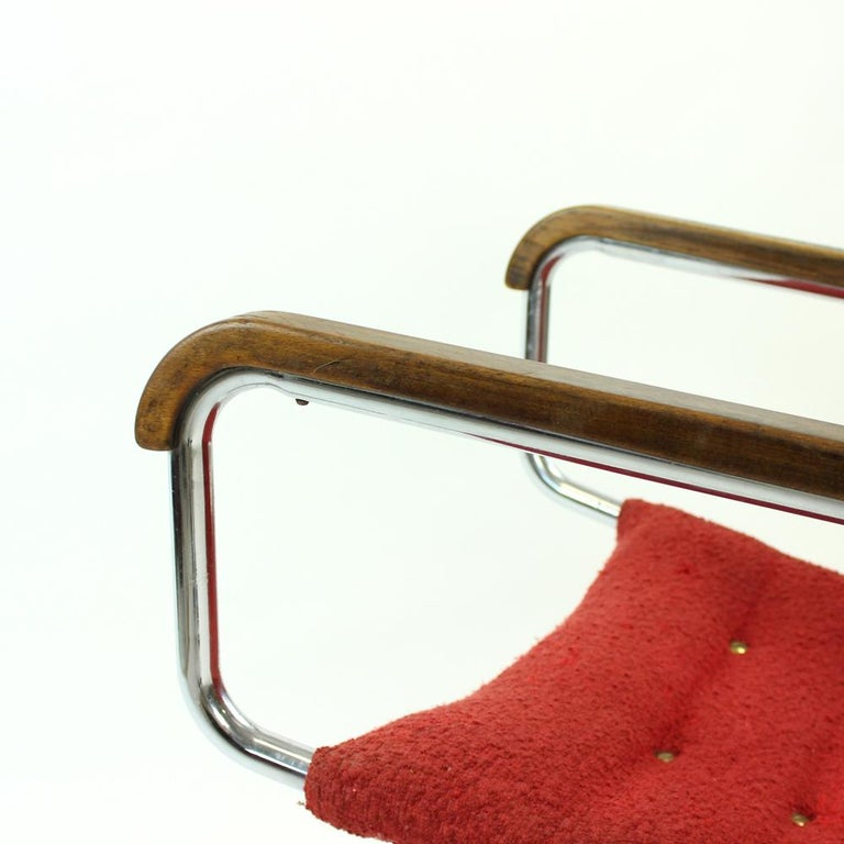 Metal Rare H-91 Bended Chrome Pipe Armchair by Halabala, circa 1930 For Sale