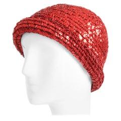 Rare Halston Red Sequins Hat Disco Skull Cap Festive Party Wear 1970s Sz S