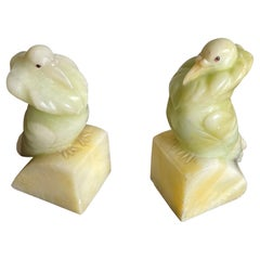 Rare Hand Carved Alabaster Pair of Fancy Pigeon Bookend Sculptures Art Deco 1920