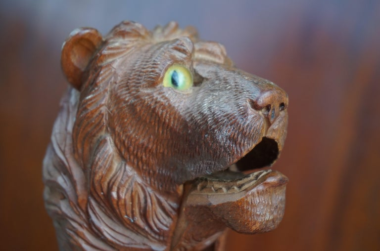 Rare Hand Carved Antique Black Forest Lion Sculpture Nutcracker with Glass Eyes For Sale 8