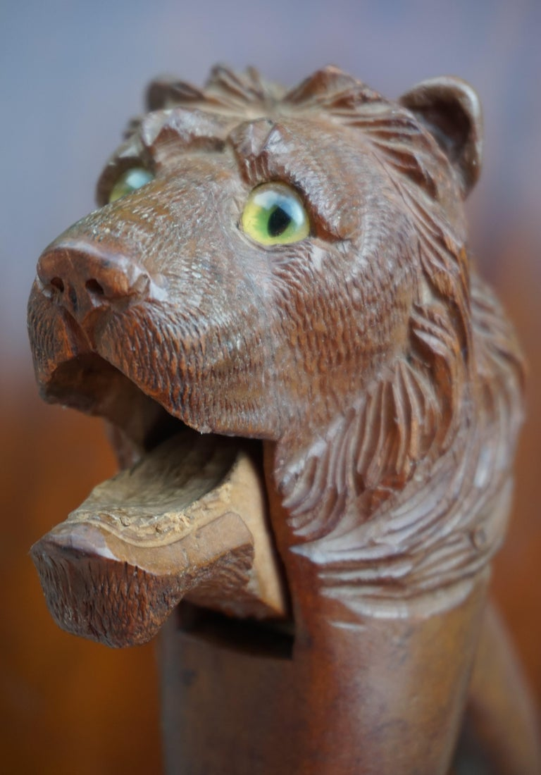 Rare Hand Carved Antique Black Forest Lion Sculpture Nutcracker with Glass Eyes For Sale 2