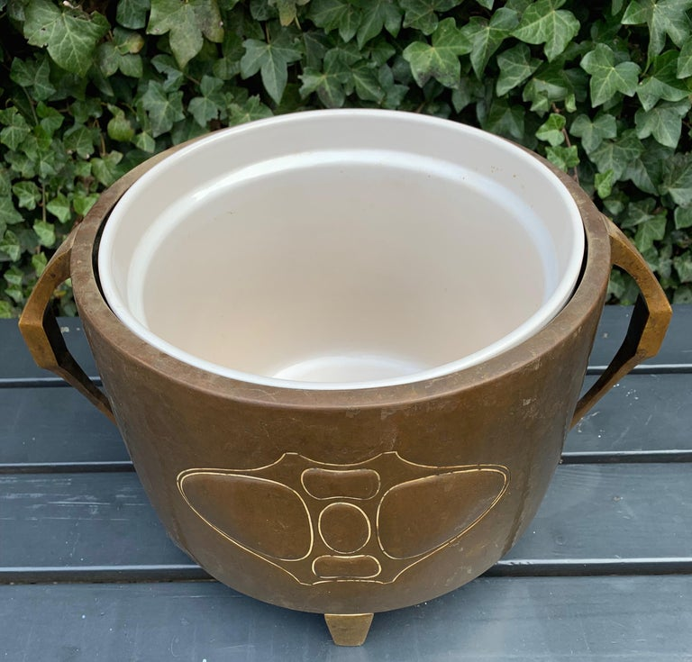 German Rare Hand-Hammered Brass & Bronze Arts & Crafts Jardiniere or Wine Cooler by WMF For Sale