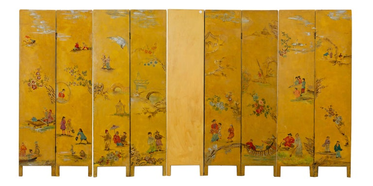 M/781 - Rare beautiful hand painted screen on wood: from France, mid '800.