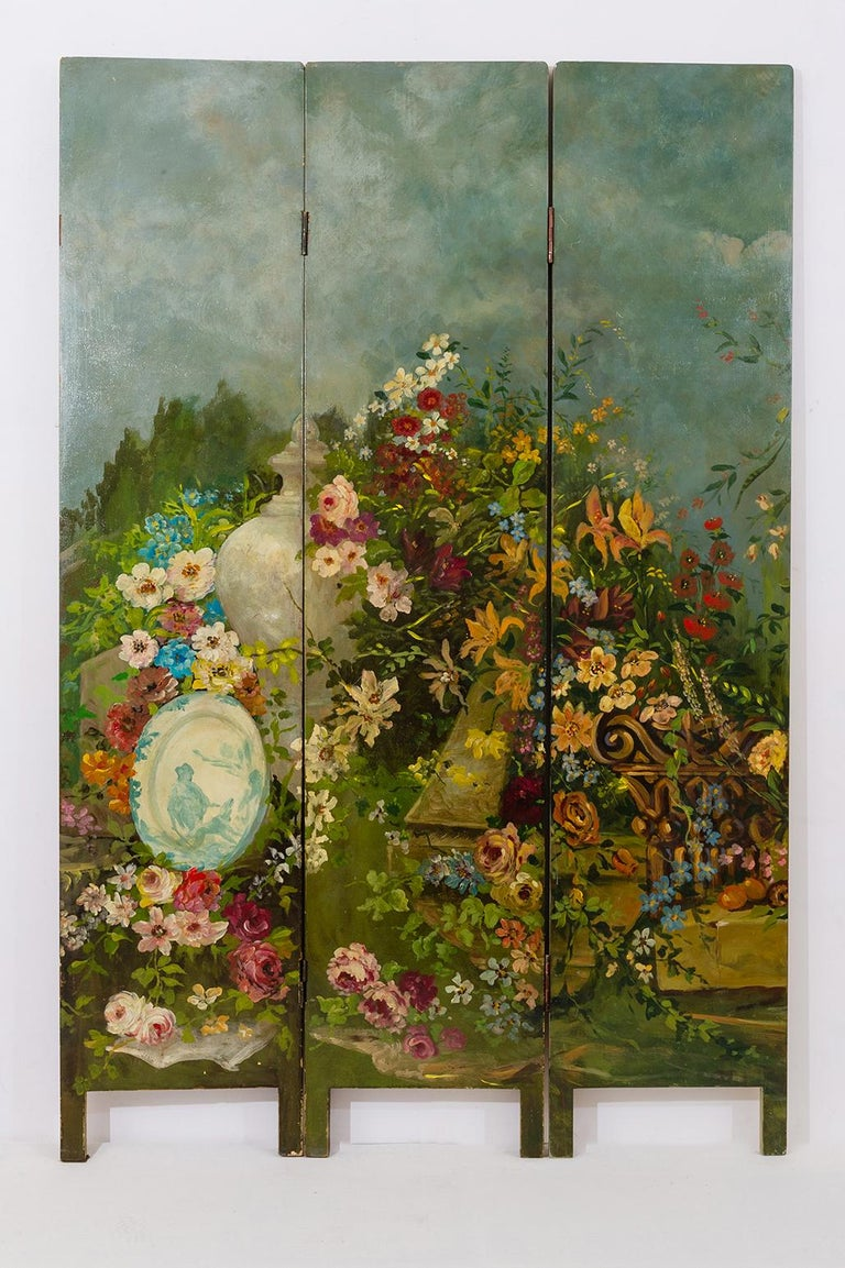 Aesthetic Movement Rare Hand Painted Screen For Sale