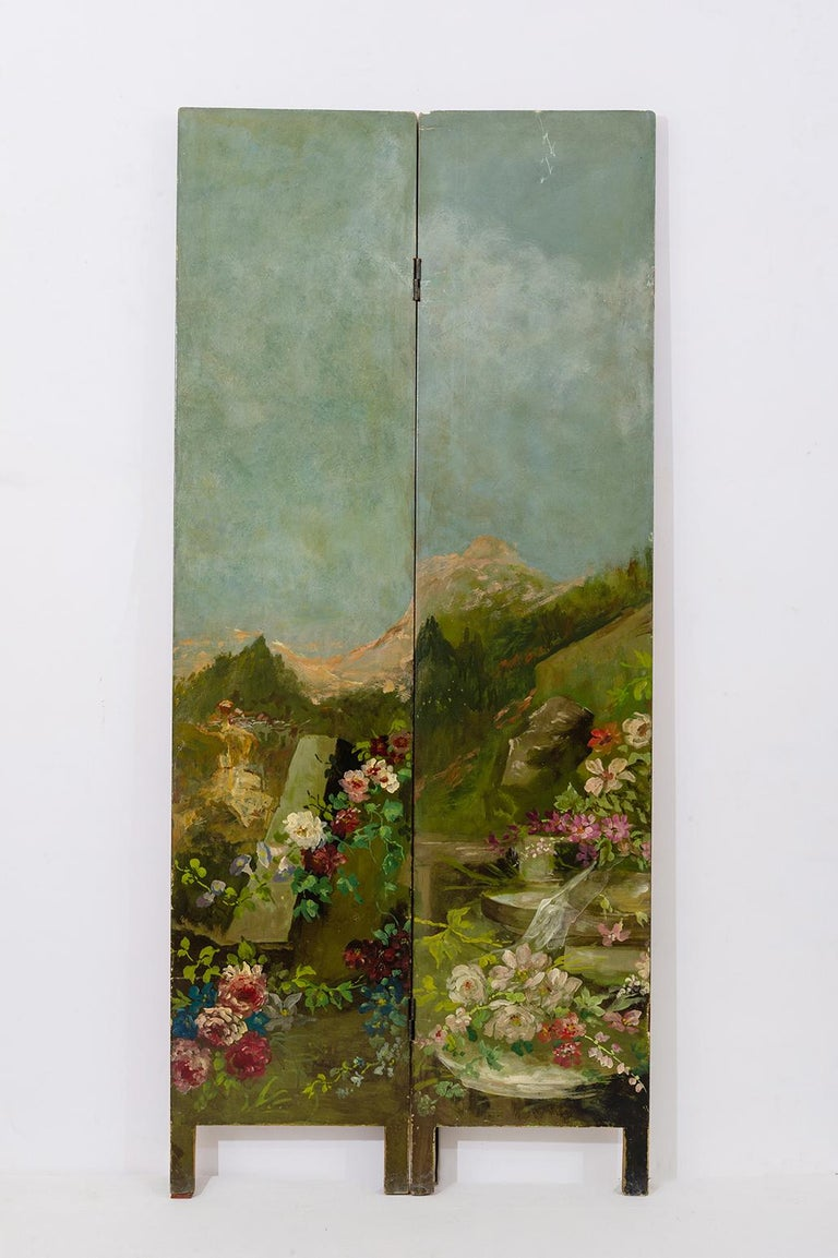 French Rare Hand Painted Screen For Sale