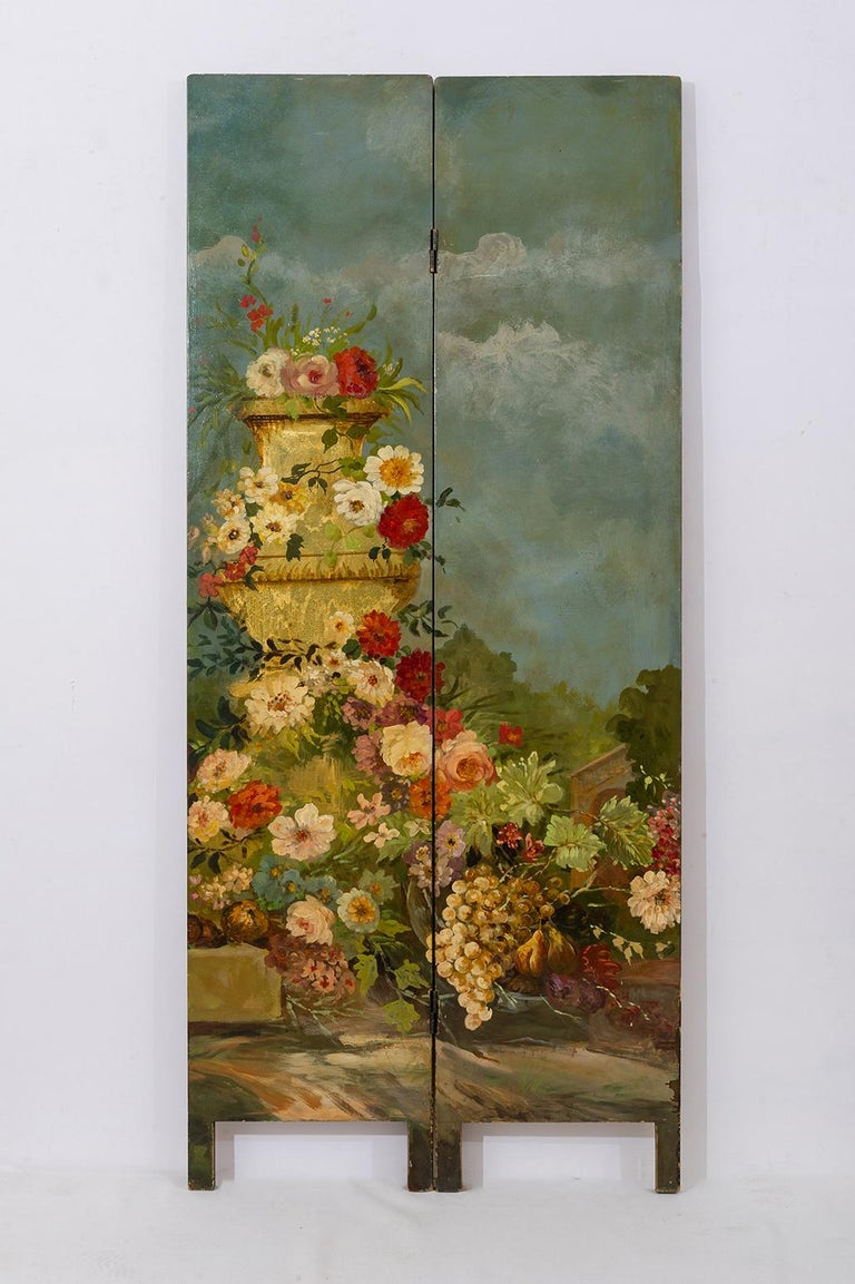 Rare Hand Painted Screen In Excellent Condition For Sale In Alessandria, Piemonte