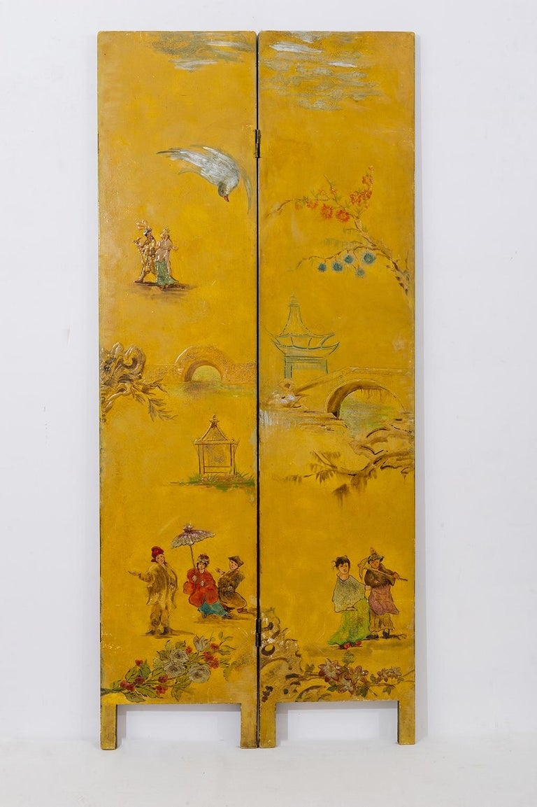 19th Century Rare Hand Painted Screen For Sale