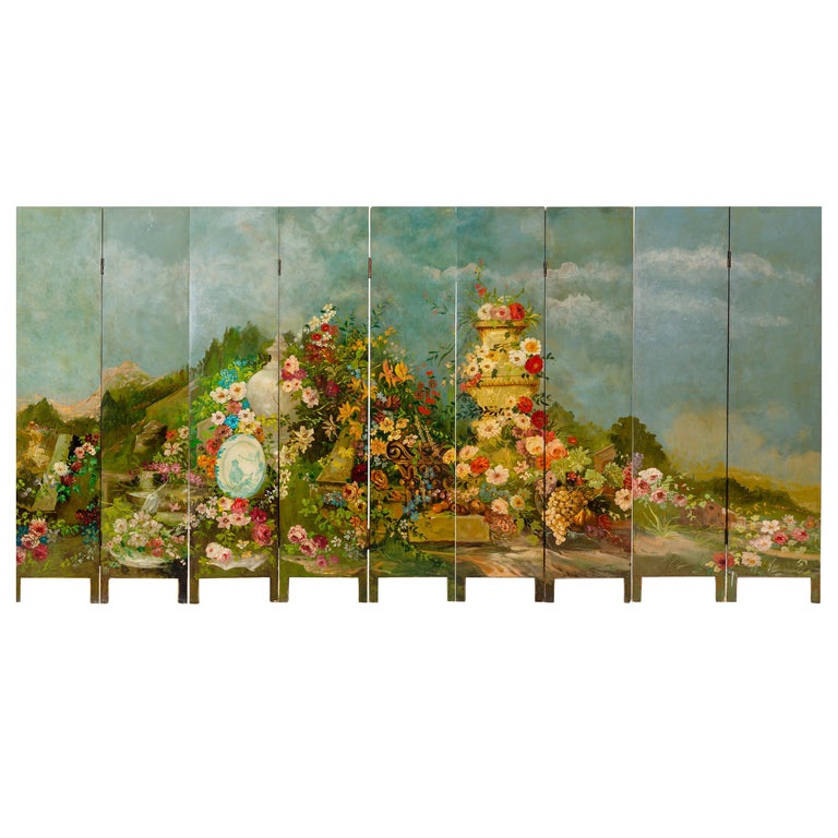Rare Hand Painted Screen For Sale