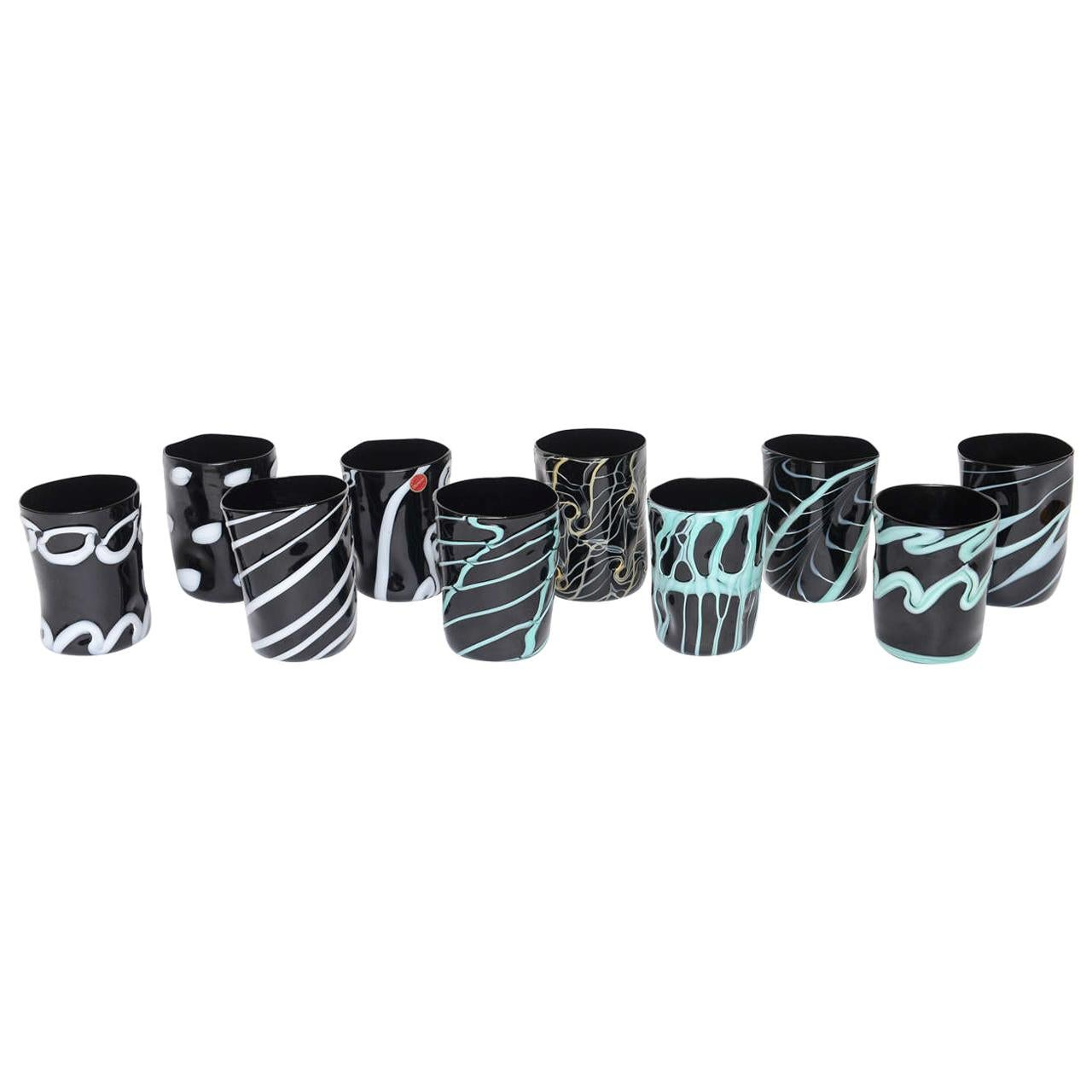Rare Handblown Black Murano Glass Tumblers, Set of Ten