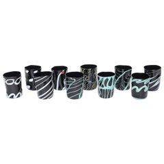 Rare Handblown Black Murano Glass Tumblers, Set of Ten