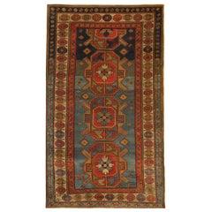 Rare Handmade 19th Century Caucasian Kazak Area Rug Carpet