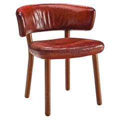 Rare Hans-Christian Hansen and Viggo Jörgensen Original Red Leather Chair