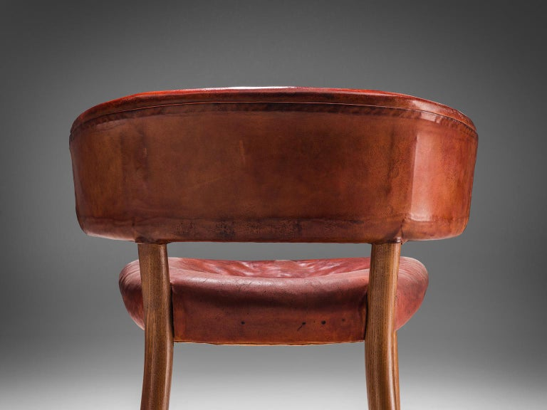 Scandinavian Modern Rare Hans-Christian Hansen and Viggo Jørgensen Chair in Original Red Leather
