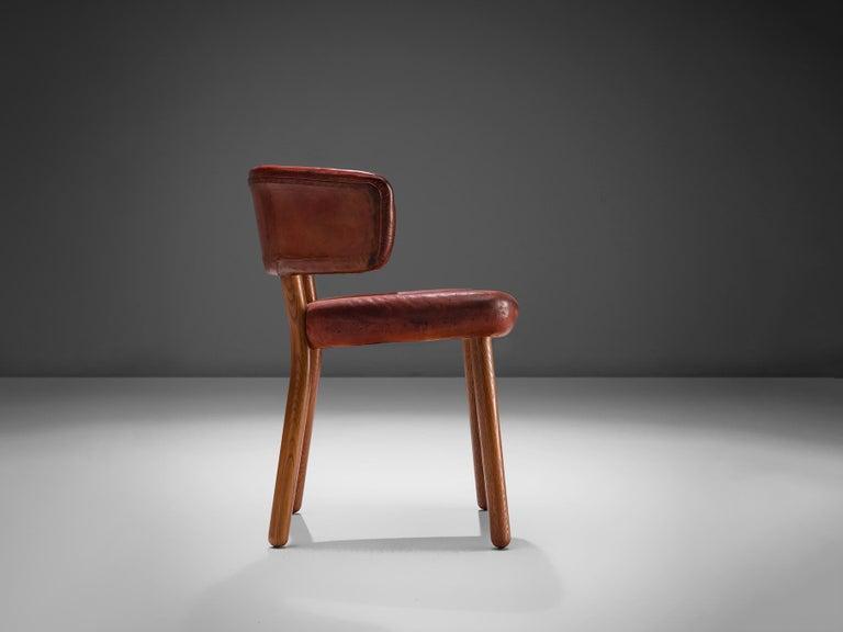 European Rare Hans-Christian Hansen and Viggo Jørgensen Chair in Original Red Leather