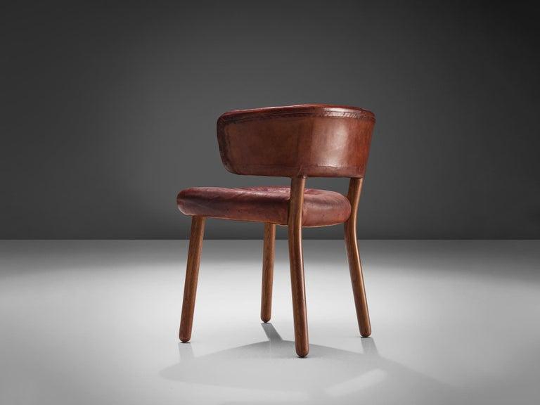 Mid-20th Century Rare Hans-Christian Hansen and Viggo Jørgensen Chair in Original Red Leather